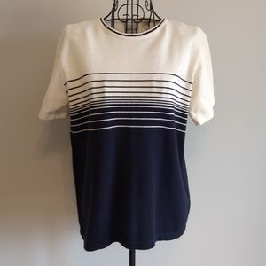 Villager Sweater Short Sleeve Navy Cream Stripe